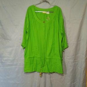 Plus size 24W green tunic NWOT